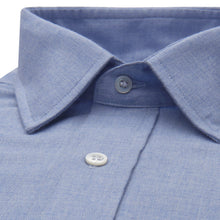 Load image into Gallery viewer, Budd Classic Fit Small Herringbone Cotton & Cashmere Button Cuff Shirt in Blue-Ready Made Shirt-Sterling-and-Burke