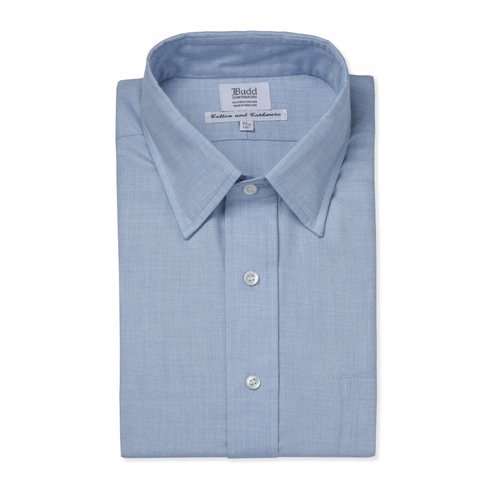 Budd Classic Fit Small Herringbone Cotton & Cashmere Button Cuff Shirt in Sky Blue-Ready Made Shirt-Sterling-and-Burke