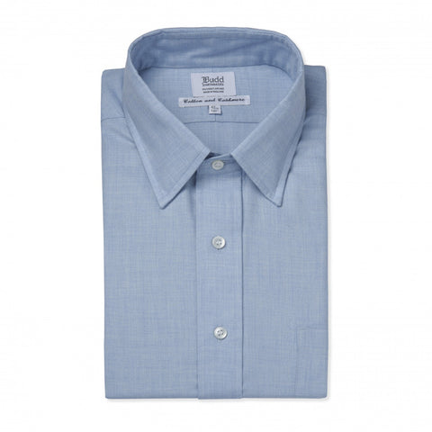 Budd Classic Fit Small Herringbone Cotton & Cashmere Button Cuff Shirt in Sky Blue