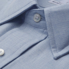 Ready Made Shirt | Alumo Cotton/Cashmere | Small Herringbone | Sky Blue | Budd Shirtmakers-Ready Made Shirt-Sterling-and-Burke