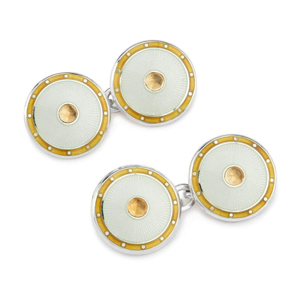 Jewel Silver Domed Enamel Cufflinks, Citrine | Budd Shirtmakers-Enamel Cufflinks-Sterling-and-Burke