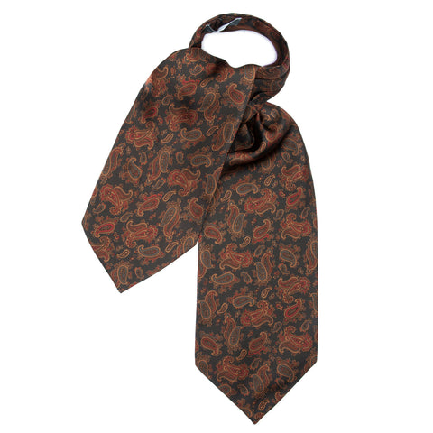 Budd Medium Paisley Silk Ascot Tie, Various Colors