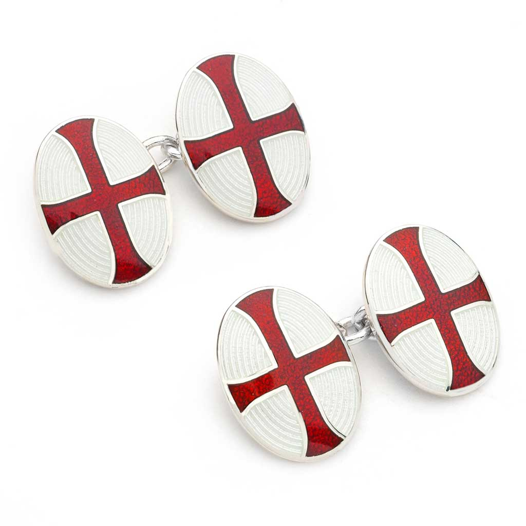 Budd Templer Cross Cloisonné Enamel Cufflinks in White & Red-Cufflinks & Studs-Sterling-and-Burke