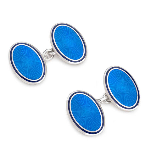 Sunburst Cloisonné Enamel Chain Cufflinks, Blue | Budd Shirtmakers | Made in England-Enamel Cufflinks and Studs Set-Sterling-and-Burke