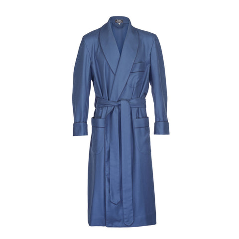 Budd Sleepwear | Wool Dressing Gown | Airforce Blue and Navy | Budd Shirtmakers | Made in England