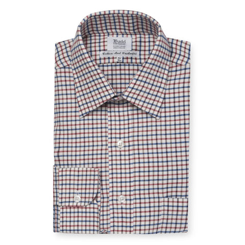 Budd Classic Fit Farmhouse Check Cotton & Cashmere Button Cuff Shirt in Red-Ready Made Shirt-Sterling-and-Burke