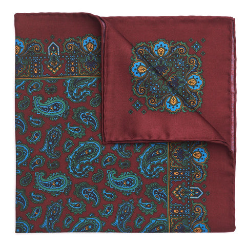 Medium Paisley Madder Pocket Square | Premium Silk | Made in England by Budd Shirtmakers