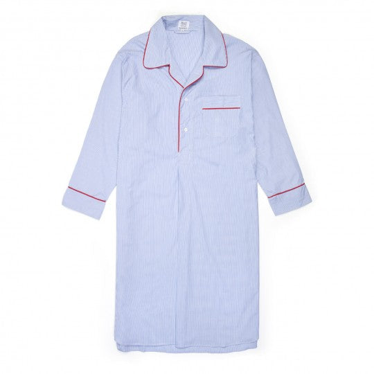 Budd Fine Stripe Superpoplin Nightshirt in Navy & Red-Pajamas-Sterling-and-Burke