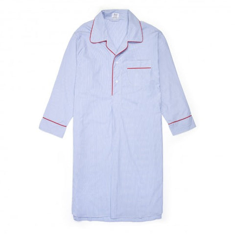 Budd Fine Stripe Superpoplin Nightshirt in Navy & Red