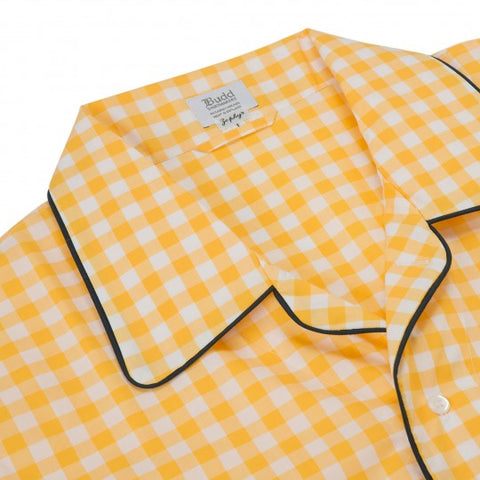 Budd Large Gingham Zephyr Nightshirt in Yellow-Pajamas-Sterling-and-Burke