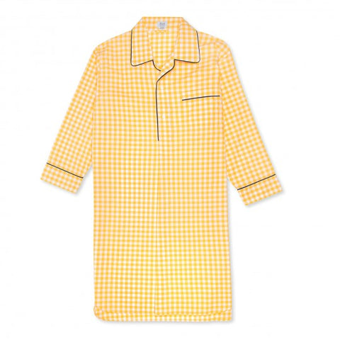 Budd Sleepwear | Exclusive Budd Large Gingham Zephyr Nightshirt | Yellow | Budd Shirtmakers | Made in England