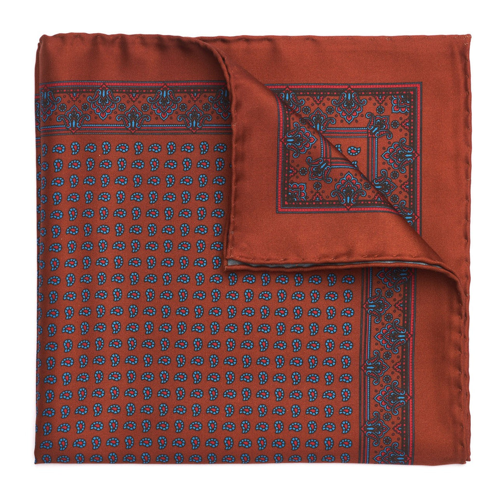 Budd Small Paisley Madder Silk Pocket Square, Various Colors-Pocket Square-Sterling-and-Burke