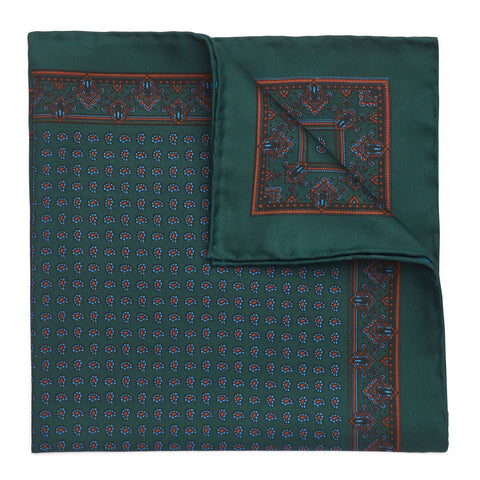 Budd Small Paisley Madder Silk Pocket Square, Various Colors