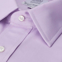 Budd Classic Fit Plain Royal Oxford Double Cuff Shirt in Lilac-Ready Made Shirt-Sterling-and-Burke