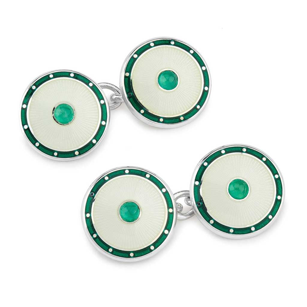 Jewel Silver Domed Enamel Cufflinks, Emerald Green | Budd Shirtmakers | Made in England-Enamel Cufflinks-Sterling-and-Burke