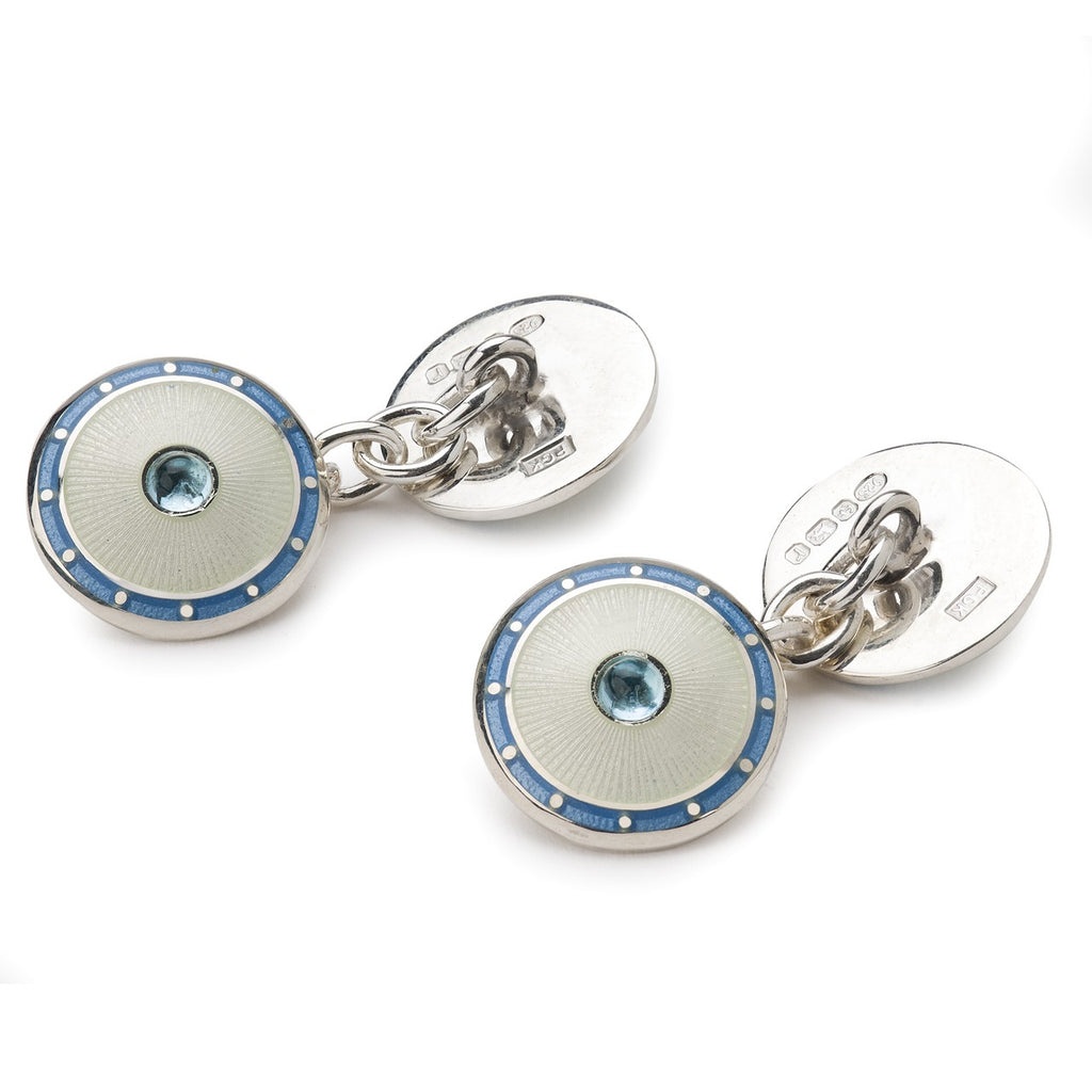 Jewel Silver Domed Enamel Cufflinks, Topaz | Budd Shirtmakers | Made in England-Enamel Cufflinks-Sterling-and-Burke