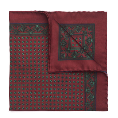 Small Daisey Madder Pocket Square | Premium Silk | Made in England by Budd Shirtmakers-Pocket Square-Sterling-and-Burke