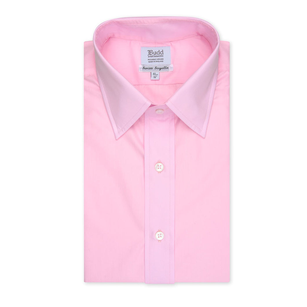 Budd Classic Fit Plain Soyella Double Cuff Shirt in Pink-Ready Made Shirt-Sterling-and-Burke