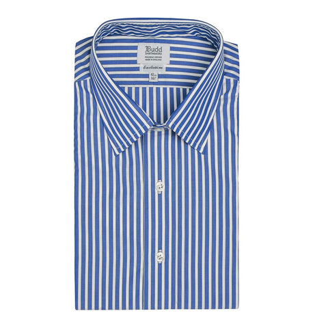 Ready Made Shirt | Exclusive Budd Stripe | Edwardian Blue | Budd Shirtmakers-Ready Made Shirt-Sterling-and-Burke