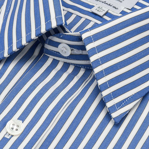 Budd Classic Fit Exclusive Budd Stripe Double Cuff Shirt in Edwardian Blue-Ready Made Shirt-Sterling-and-Burke