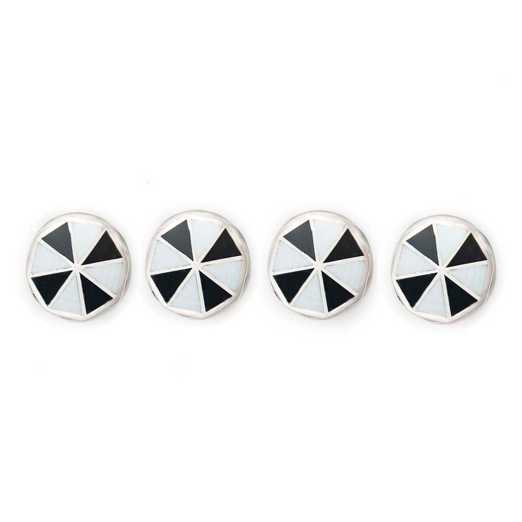 Pinwheel Cloisonné Shirt Studs Set, Black and White | Budd Shirtmakers | Made in England-Enamel Cufflinks and Studs Set-Sterling-and-Burke