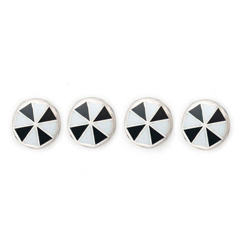 Budd Pinwheel Cloisonné Enamel Studs in Black & White-Cufflinks & Studs-Sterling-and-Burke