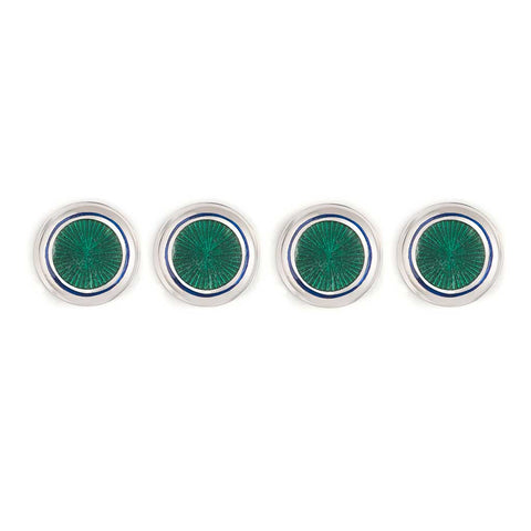 Budd Sunburst Cloisonné Enamel Studs in Green and Navy-Cufflinks & Studs-Sterling-and-Burke