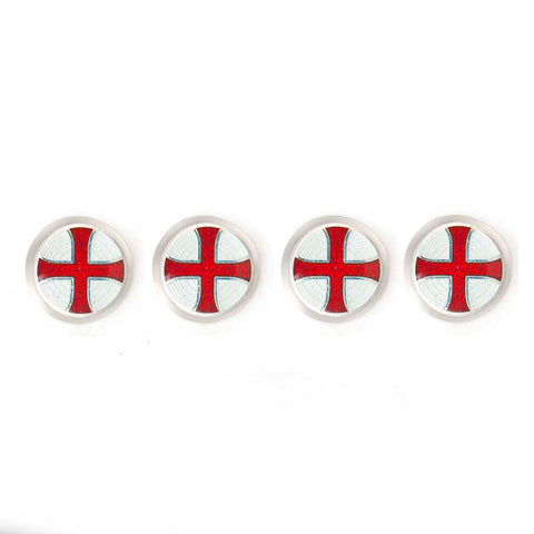 Templer Cross Cloisonné Enamel Studs, White & Red | Budd Shirtmakers | Made in England-Enamel Cufflinks and Studs Set-Sterling-and-Burke
