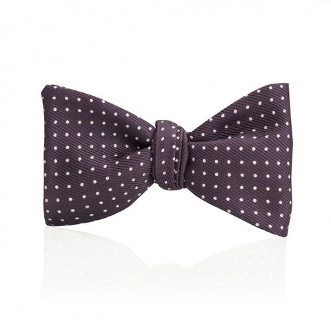 Mini Spot Thistle Bow Tie, Purple and White | Premium Silk | Budd Shirtmakers | Made in England-Bow Tie-Sterling-and-Burke