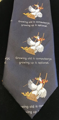 Simon Drew Growing Old is Compulsory Tie, Navy | Silk | Budd Shirtmakers | Made in England-Necktie-Sterling-and-Burke