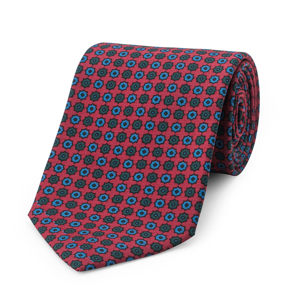 Neat Duo Star Madder Tie, Red | Budd Shirtmakers | Made in England-Necktie-Sterling-and-Burke