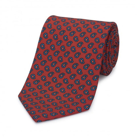 Budd Mini Paisley Geometric Madder Silk Tie, Various Colors