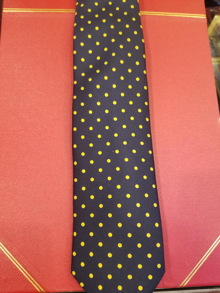 Medium Spot Foulard Neck Tie | Navy and Yellow Silk | Made in England by Budd Shirts-Necktie-Sterling-and-Burke