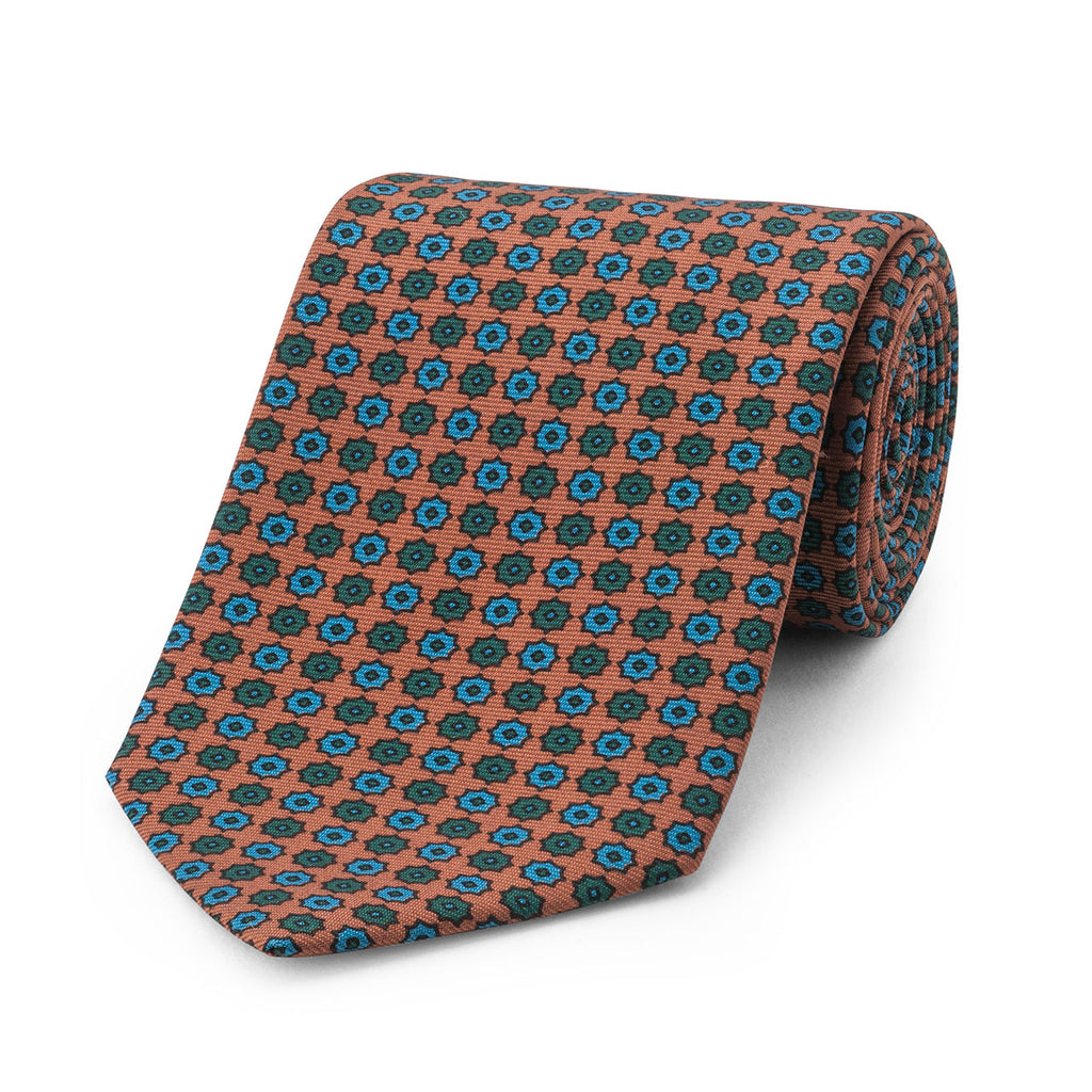 Neat Duo Star Madder Tie, Copper | Budd Shirtmakers | Made in England-Necktie-Sterling-and-Burke