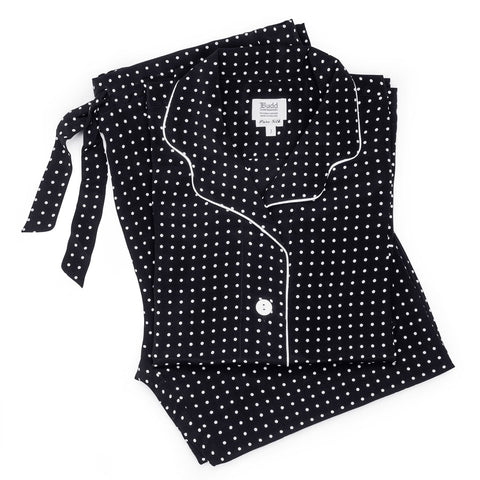 Budd Silk Spot Ladies Pajamas in Black & White