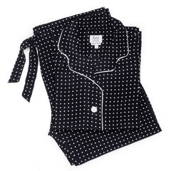Women's Silk Spot Pyjamas | Black and White | Budd Shirtmakers-Pyjamas-Sterling-and-Burke