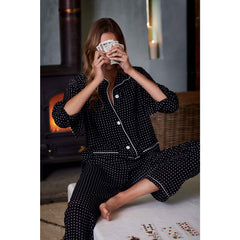 Budd Silk Spot Women's Pyjamas in Black & White-Pajamas-Sterling-and-Burke