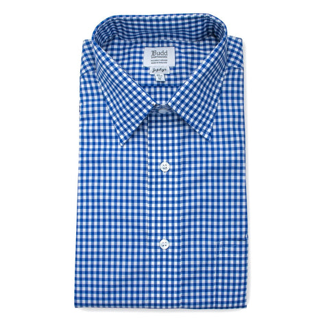 Ready Made Shirt | Alumo Zephyr Cotton | Check | Royal Blue | Budd Shirtmakers-Ready Made Shirt-Sterling-and-Burke