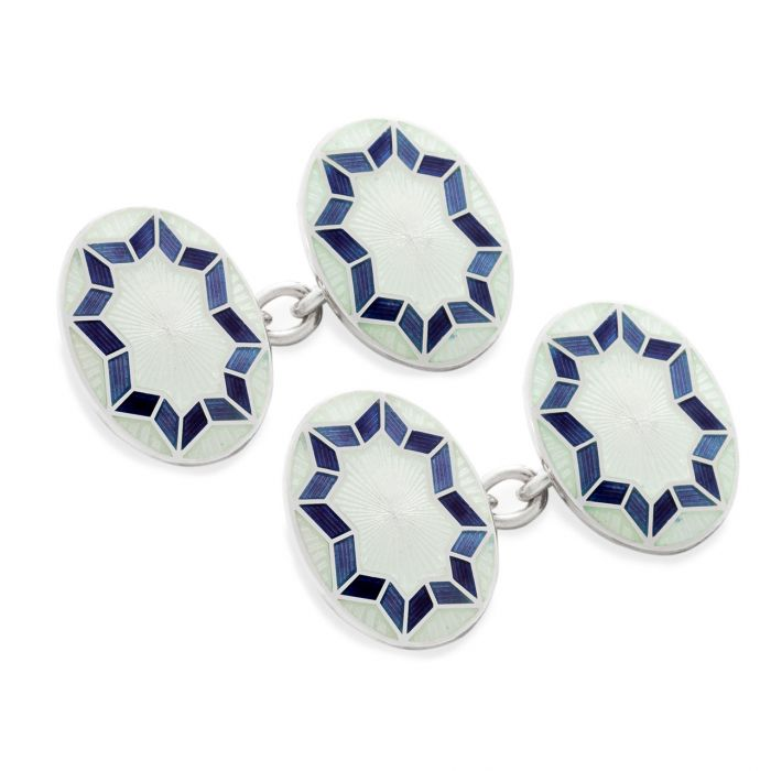 Budd Funky Star Silver Cloisonne Chain Cufflinks in White-Cufflinks & Studs-Sterling-and-Burke
