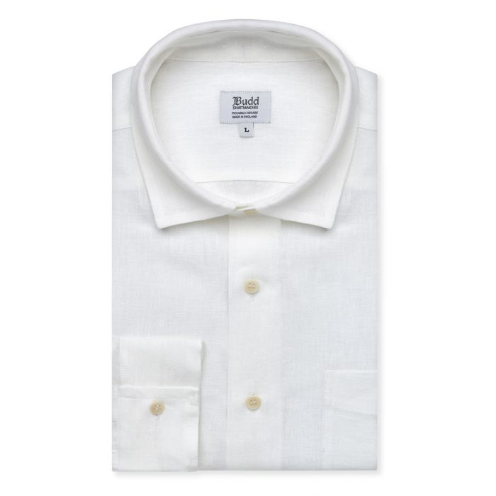 Budd Casual Fit Plain Linen Button Cuff Shirt in White-Ready Made Shirt-Sterling-and-Burke