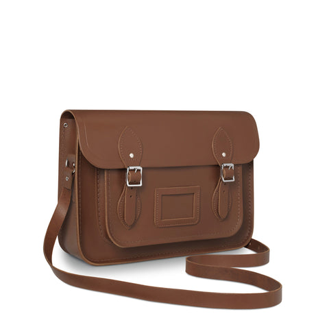 13 Inch Satchel with Magnetic Closure, Vintage Brown