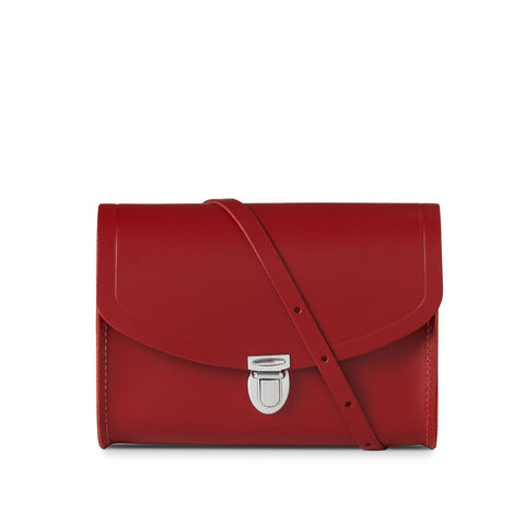 Medium Push Lock Handbag, Red