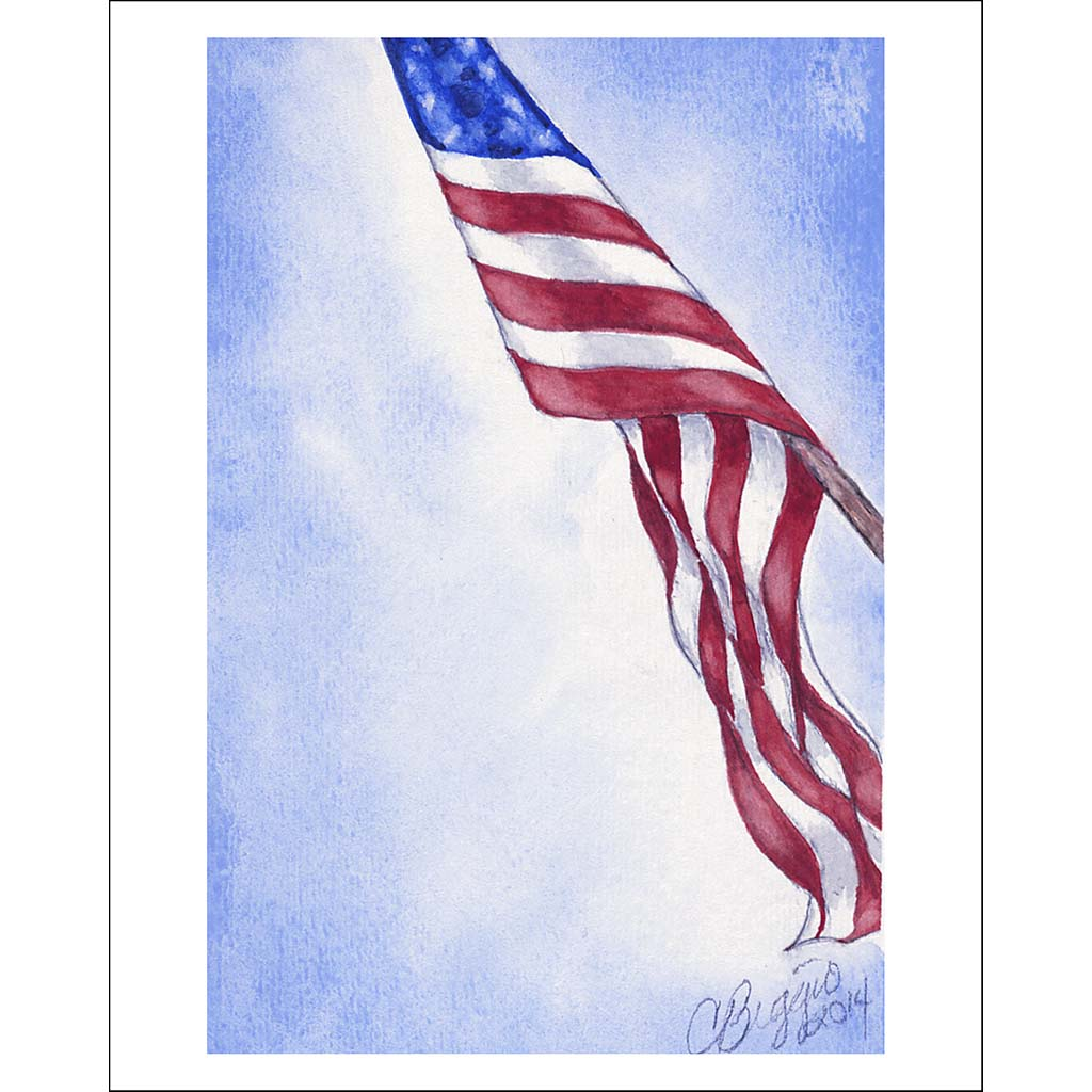 "American Flag | Print with Pencil Signature by Carole Moore Biggio | 7"" x 5""-Greeting Cards-Sterling-and-Burke"