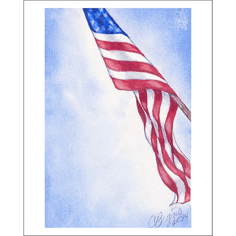 "American Flag | Print with Pencil Signature by Carole Moore Biggio | 7"" x 5"""