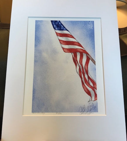 "Art | American Flag | Limited Edition Giclee Print by Carole Moore Biggio | 14"" x 11"""