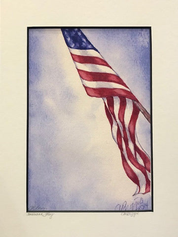 "American Flag | Signed Print on Canvas with Mat by Carole Moore Biggio | 12"" x 9"""