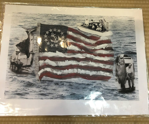 FDR US Flag Fishing Print | Abstract | Historic American Pop | Artist's Proof Giclee No.220 | Patriotic Art | Laura Roosevelt-Print-Sterling-and-Burke