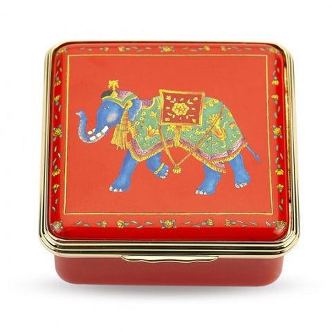 Enamel Box | Ceremonial Indian Elephant Enamel Box | Halcyon Days | Made in England-Enamel Box-Sterling-and-Burke