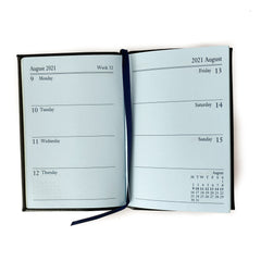 "Charing Cross 2021 4"" Bonded Leather Pocket Calendar in Burgundy-Calendar-Sterling-and-Burke"