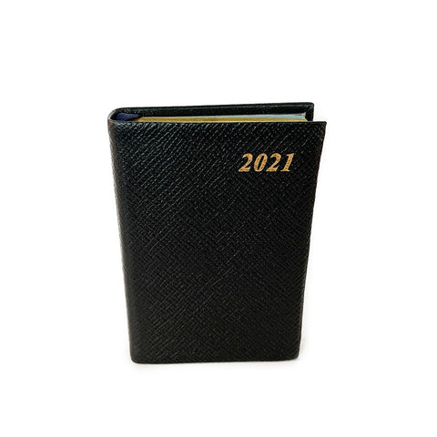 "Charing Cross 2021 4"" Crossgrain Leather One Day Per Page Pocket Calendar in Black"